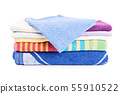 Stack of folded bathroom towels 55910522