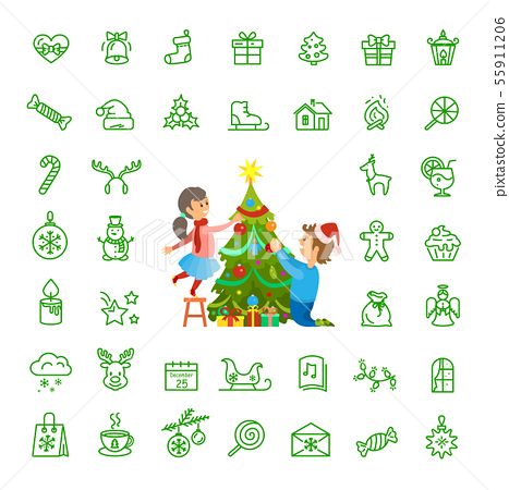 Christmas Tree Decoration and Isolated Icons Set 55911206