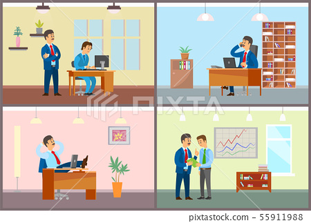 Boss and Employees Working in Office, Business Set 55911988