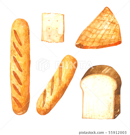 Bread Watercolor Collection On White Background Stock Illustration 55912003 Pixta