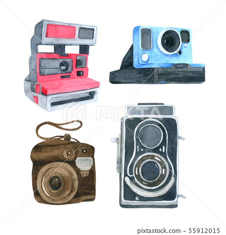 Camera watercolor collection on white background 55912015