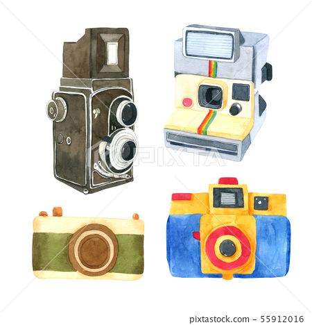 Camera watercolor collection on white background 55912016