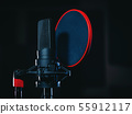 Microphone on black background in recording studio. Music, concert concept. 55912117