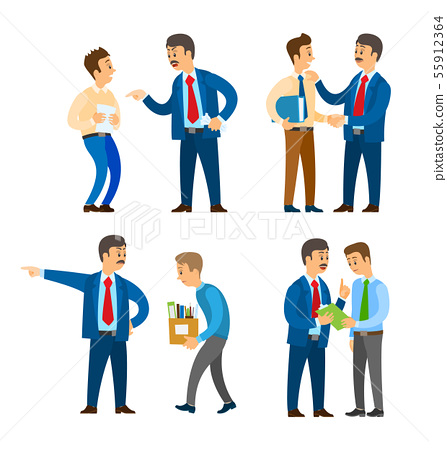 Boss Angry with Worker, Sacked Person with Boxes 55912364
