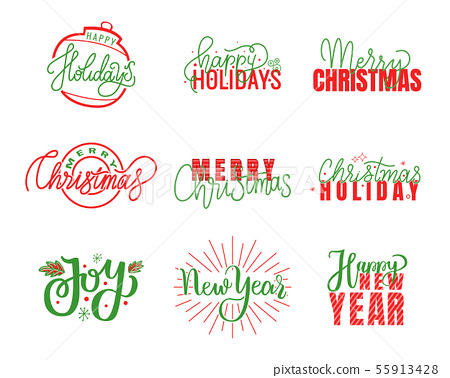 Joy and Happy Holidays, Merry Christmas Lettering 55913428