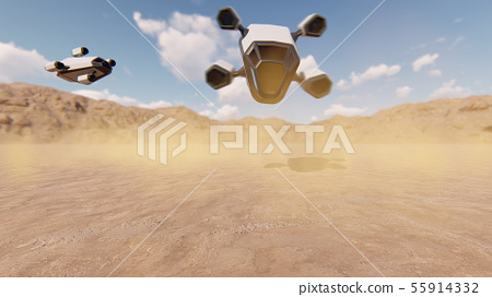Spaceship drones landing in the desert 55914332