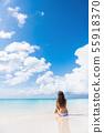 Beach woman enjoying serene luxury vacation sun 55918370