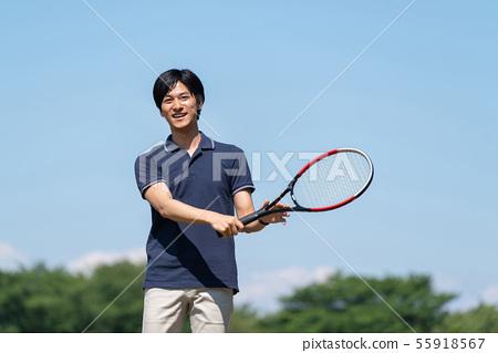 網球,藍天,男性 55918567