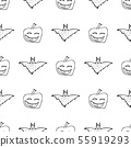 Bat and pumpkin seamless Halloween outline in the 55919293
