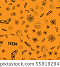 Halloween doodle seamless pattern set isolated on 55919294