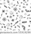 Halloween doodle seamless pattern set isolated on 55919296
