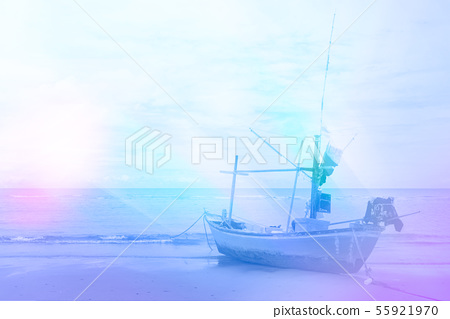 beach and fishing boat for background design 55921970