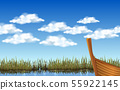 skyscape of clouds on the blue sky at the lake 55922145