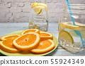 view of a jug of lemonade with ice and lemon 55924349