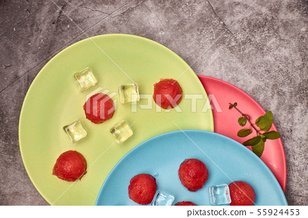 view of pieces of red and refreshing watermelon 55924453