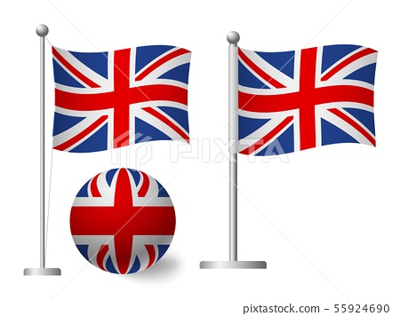 United Kingdom flag on pole and ball icon 55924690