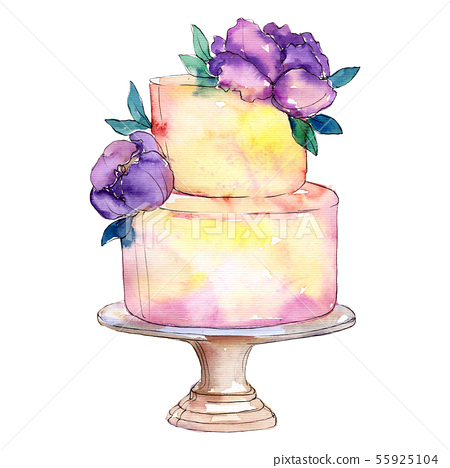 Tasty cake decorated with flowers. Watercolor background illustration set. Isolated cake 55925104