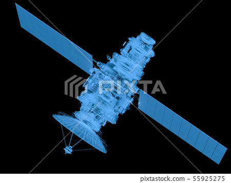 x ray satellite isolated on black 55925275
