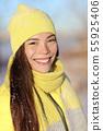 Winter Asian woman portrait smiling outdoors 55925406