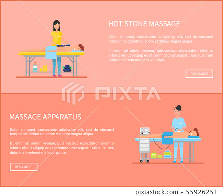 Hot Stone Massage and Apparatus Posters Vector 55926251