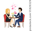 Dating Couple in Evening Gowns Sitting at Table 55926329