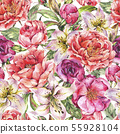 Vintage Watercolor Seamless Pattern with Blooming 55928104