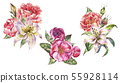 Set of Vintage Watercolor bouquets with Blooming 55928114
