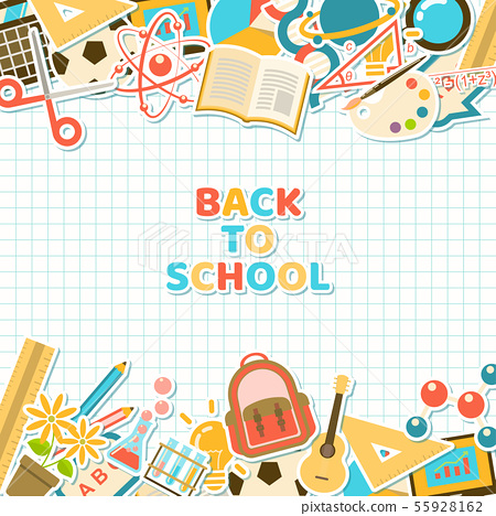 Back to school stickers on grid paper 55928162