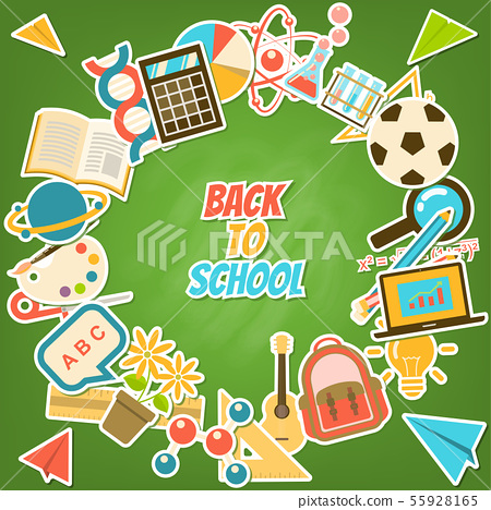 Back to school rounded element stickers on 55928165
