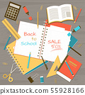 Back to school note pad on table top view 55928166