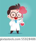 Cartoon Scientist With Test Tube 55928486