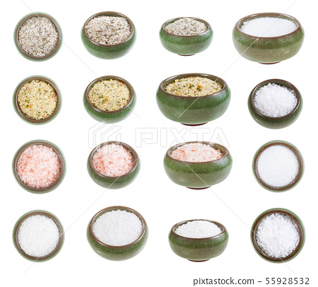 collection from ceramic salt cellar with salts 55928532