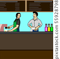 A man and a woman work together in coffee shop 55928798