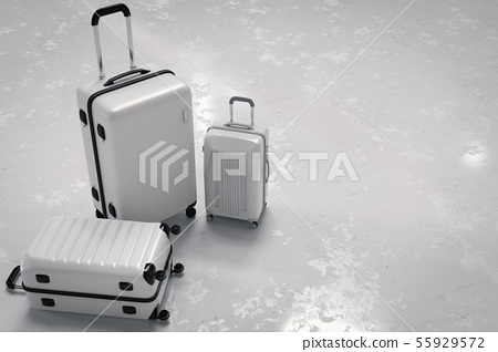 various size of white luggages 55929572