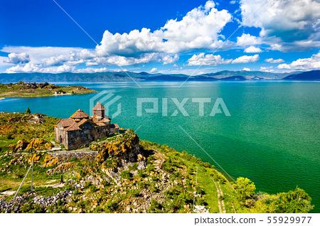 Hayravank monastery on the shores of lake Sevan in Armenia 55929977