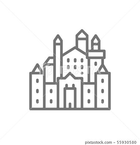 Neuschwanstein Castle, landmark of Hohenschwangau, Germany line icon. 55930580