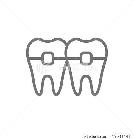 Teeth with braces, orthodontics, brackets line icon. 55931441