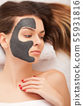 Spa concept. Young woman with nutrient facial mask in beauty salon, close up 55931816