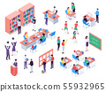 Isometric school. Childrens and teacher in classroom, students in schools library and education 55932965
