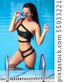 Summer Woman Beauty, Fashion. Beautiful Healthy Woman With Sexy Body In Elegant Bikini, Sun Hat 55933221
