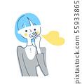 關心口臭的女性藍色 55933865