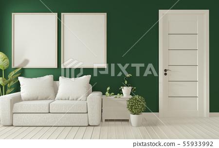 Mock up poster frame on dark green living room - Stock ...