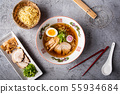 authentic japanese ramen noodle from top view 55934684