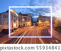 The street with frame in the old sity 55934841