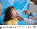 Doctor is examining kid throat in office stock photo 55935196