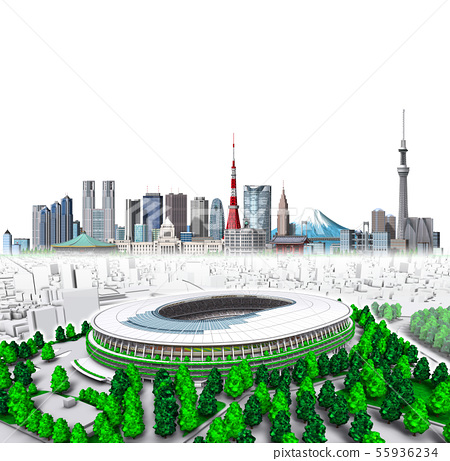 새로운 국립 경기장 + 도쿄 새로운 22 흰색 배경 55936234