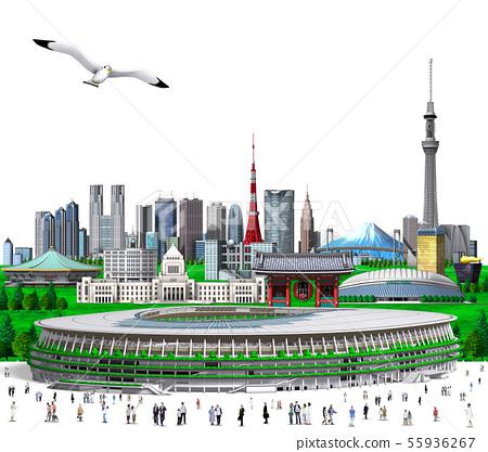新東京+新國家體育場新的屋頂白色背景 55936267