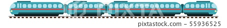 high-speed train with wagons on rails flat style 55936525