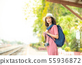 Asian women tourists at the train station. 55936872