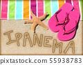 Ipanema beach vacation concept - sand and towel 55938783